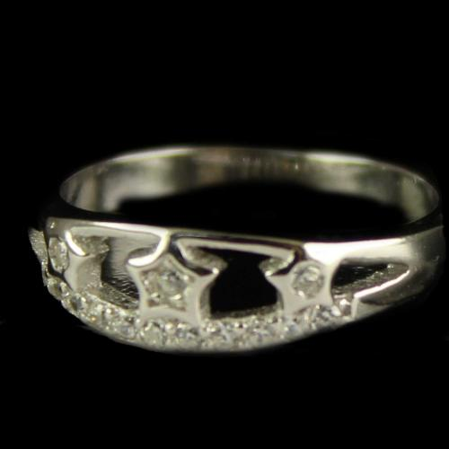 R13299 Sterling Silver Ring Studded Zircon Stones