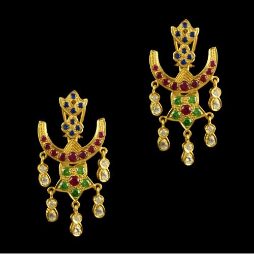 Silver Gold Plated Chandbali Earring Studded Multi Stones