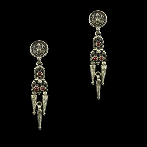 Silver Oxidized Drop Earrings Studded Semi Precious Stones