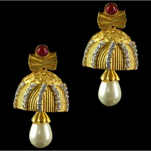 Silver Gold Plated Floral Design Jhumka Studded Red Onyx,Pearls And Zircon Stones