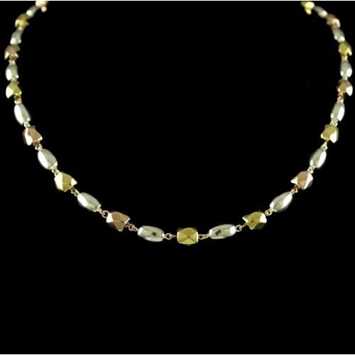 Silver Rose Gold Fancy Design Necklace