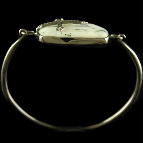 Silver Plated Fancy Design Tree Agate White Cz Stone Bracelets