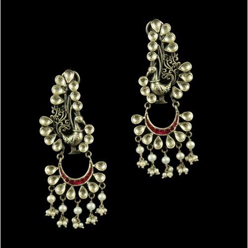 Silver Oxidized Fancy Design Earrings Studded Polki Stones