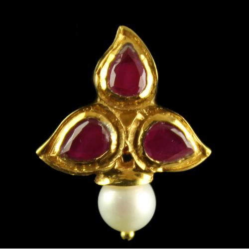 Silver Gold Plated Fancy Design Earring Red Pear Pearl Round 4.5mm