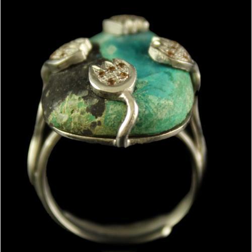 Silver Gold Plated Semiprecious Chrysocola Champain Stone Ring