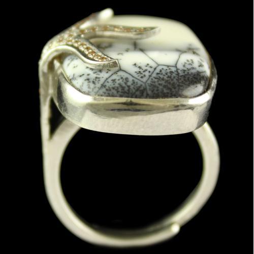 Silver Plated Semiprecious Dendrite Champaine Stone Ring