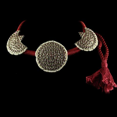 Silver Oxisided Antique Design Thread Necklace