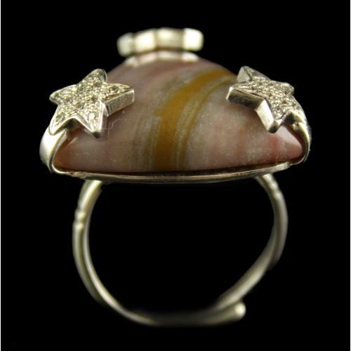Silver Plated Semiprecious Jasper White Cz Stone Ring