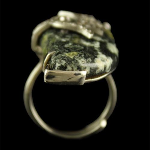 Silver Plated Fancy Design Semiprecious Aquamarin Ring
