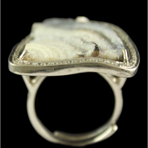 Silver Plated Fancy Design Semiprecious Desert Druz White Cz Ring