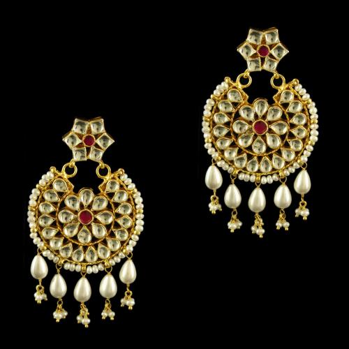 Silver Gold Plated Floral Design Drop Earrings Studded Polki Stones