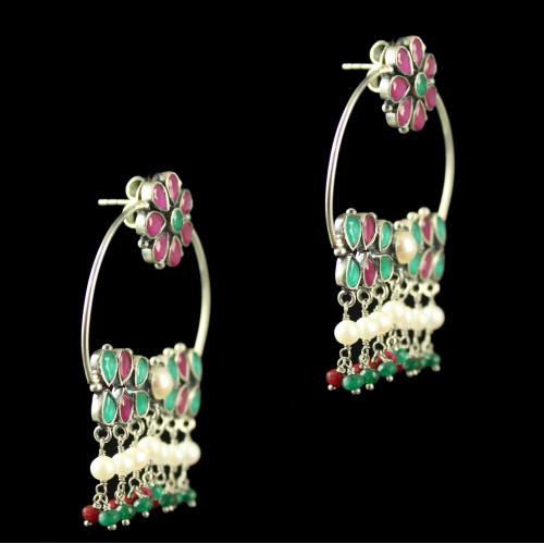 Silver Plated Earrings Green Pear Red Round  Pearl 4mm Pearl 6mm Pearl 4.5mm Green Cut