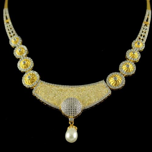 Silver Gold Plated Fancy Design Necklace Studded Zircon Stones