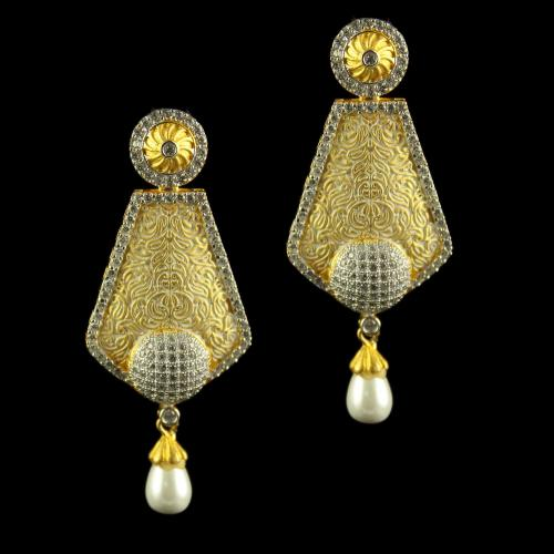 Silver Gold Plated Fancy Design Earrings Drops Studded Zircon Stones