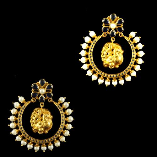 Silver Gold Plated Fancy Design Drops Studded Pearls