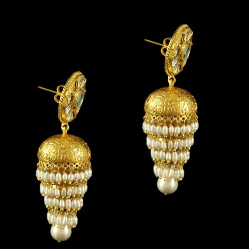 Silver Gold Plated Kundha Design Jhumka Earring With Pearls
