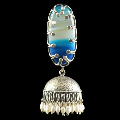 Silver Plated Fancy Design Earrings With Dyed Agate Big Rice Pearl