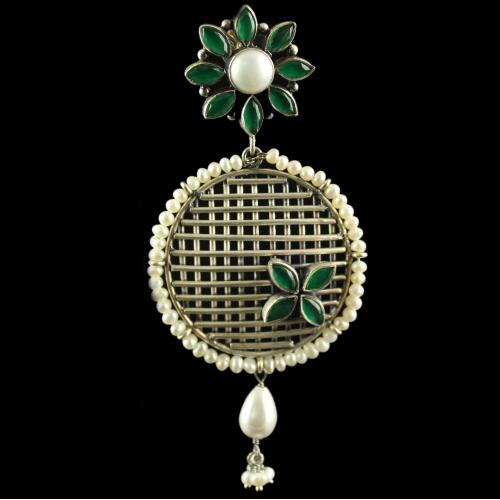 Silver Plated Fancy Design Earrings Green Marquise Pearl 7mm Pearl 2.5mm Pearl Drop 6X9