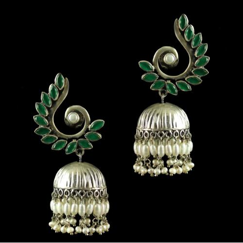 Silver Plated Fancy Design Earrings Green Marquise Pearl Cab 4mm Round Pearl 3mm Rice Pearl Big