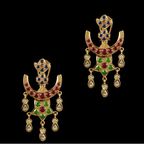 Silver Gold Plated Antique Design Chandbali Earrings Studded Muli Stones