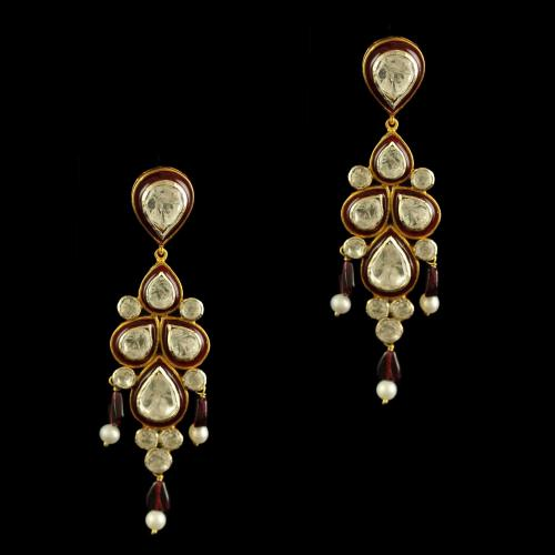 Silver Plated Fancy Design Earrings With Red Beads
