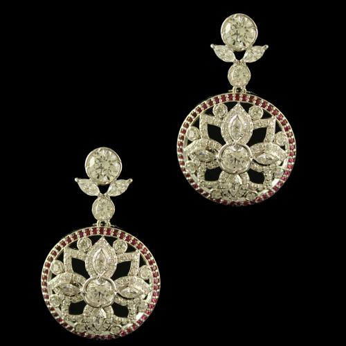 Sterling Silver Fancy Design Earring Drops Studded Red Onyx And Zircon Stones