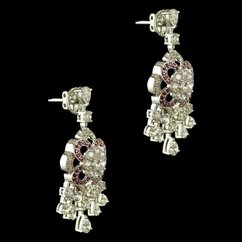 Sterling Silver Fancy Design Earring Drops Studded Zircon Stones