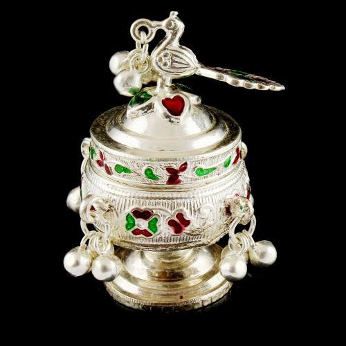 Silver Plated Fancy Design Kum Kum Box
