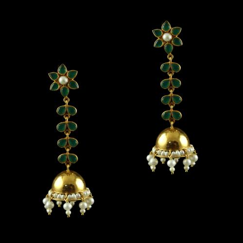 Silver Gold Plated Jumkas Green Onyx Marwuise Green  Pearl Cab Pearl 2.5mm Pearl 4.5mm