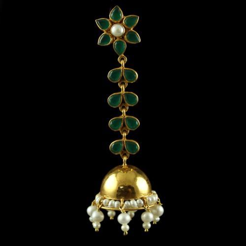 Silver Gold Plated Jumkas Green Onyx Marwuise Green  Pearl Cab Pearl 2.5mm Pearl 4.5mm