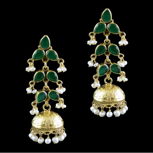 Silver Gold Plated Fancy Design Jhumka Earrings Studded Green Onyx Stone