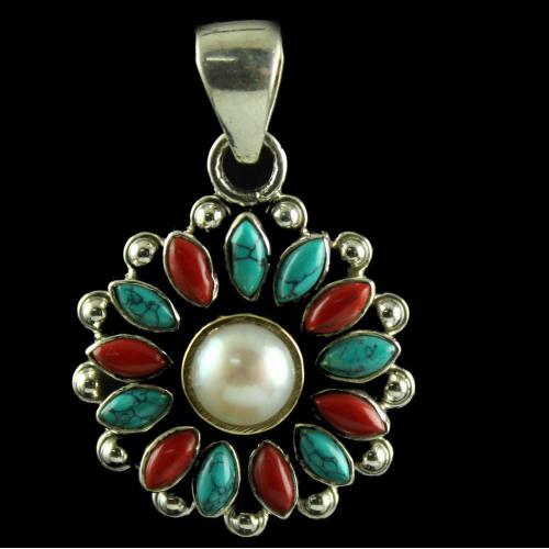 Silver Plated Fancy Design Pendants Red Onyx Black Onyx Stone