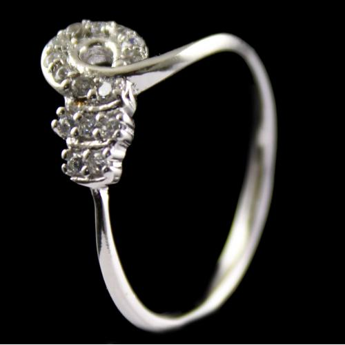 R13232 Sterling Silver Fancy Ring Studded Zircon Stones
