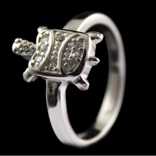 Silver Fancy Design Ring Studded Zircon Stones