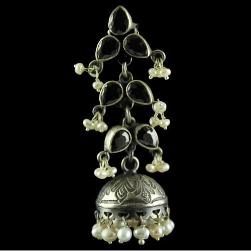 Silver Gold Plated Fancy Design Earring Jhumka