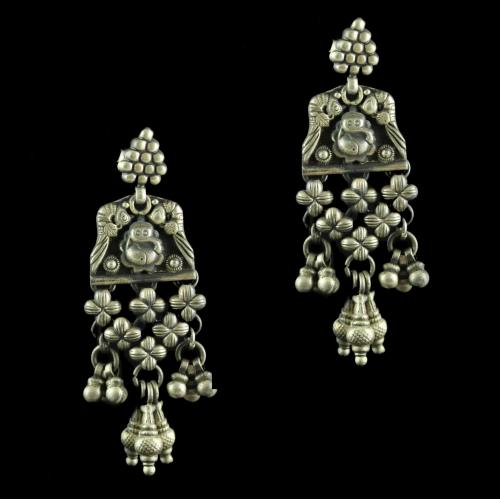 Silver Oxidized Antique Design Earring Drops