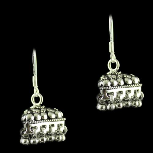 Silver Oxidized Antique Design Hanging Earrings