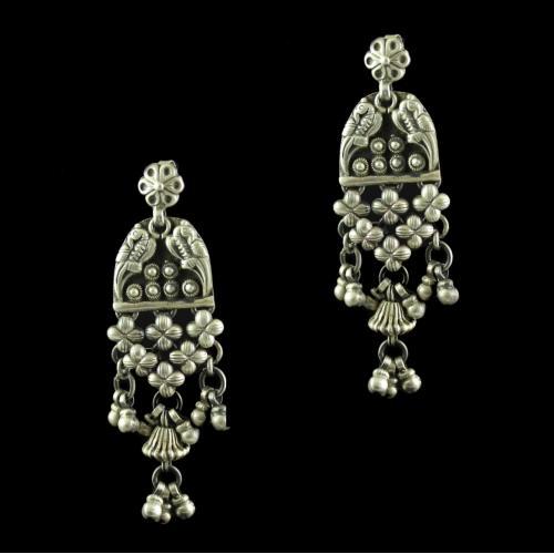 Silver Oxidized Antique Design Hanging Jhumka