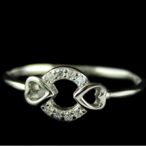 R13359 Sterling Silver Fancy Ring Studded Zircon Stones