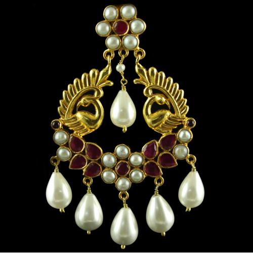 Silver Gold Plated Peacock Design  Earring Drops Studded White,Red Onyx With Pearls