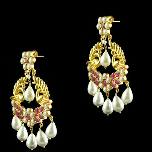 Silver Gold Plated Peacock Design  Earring Drops Studded Green,Red Onyx With Pearls