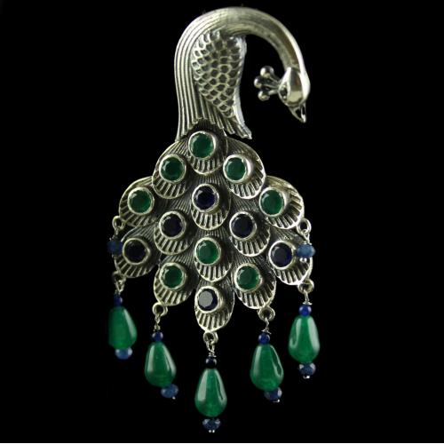 Silver Fancy Peacock Design  Green and Blue Onyx Studded Earring With Green Pearls