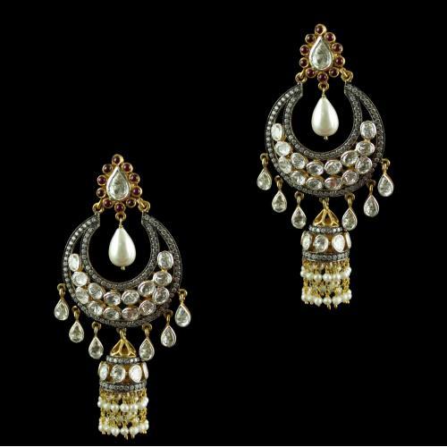 Silver Drops Design Polki Chandbali Earrings