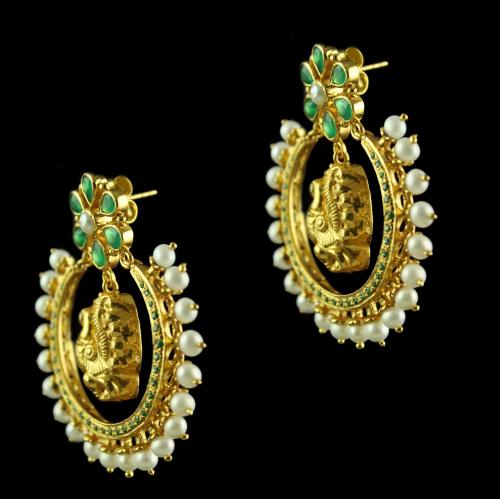 Silver Drops Design Green Onyx Red Onyx Pearl Chandbali Earrings