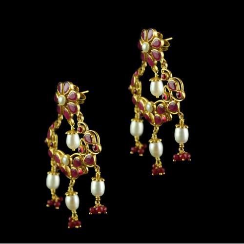 Silver Drops Red Onyx Pearl Chandbali  Earrings