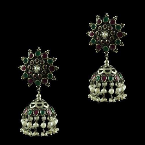 Silver Gold Plated Green Onyx Red Onyx With Pearl  Jhumkas