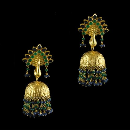 Silver Gold Plated Green Onyx Blue Onyx Peacock Design Jhumki Earrings