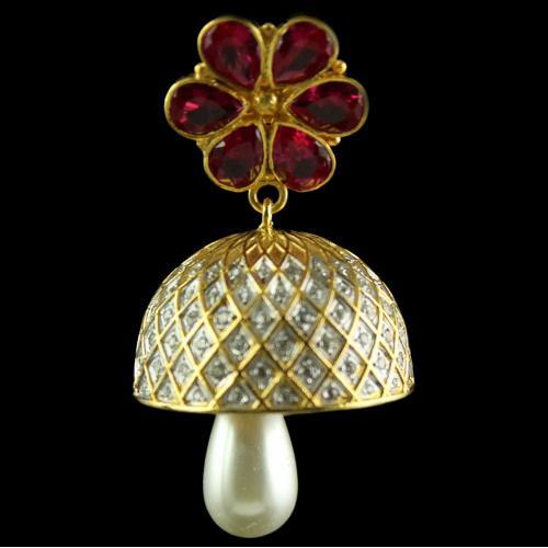 Silver Red Stone Bell White Zircon Jhumkas