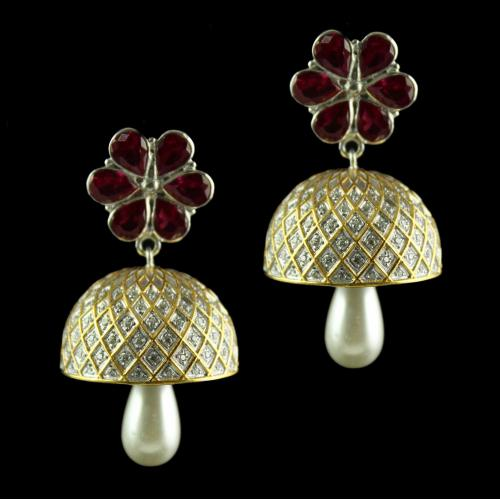 Silver Red Stone Bell White Zircon Jhumkas