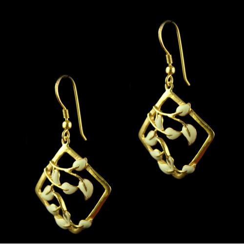 Silver Gold Plated Square Leaf Earrings